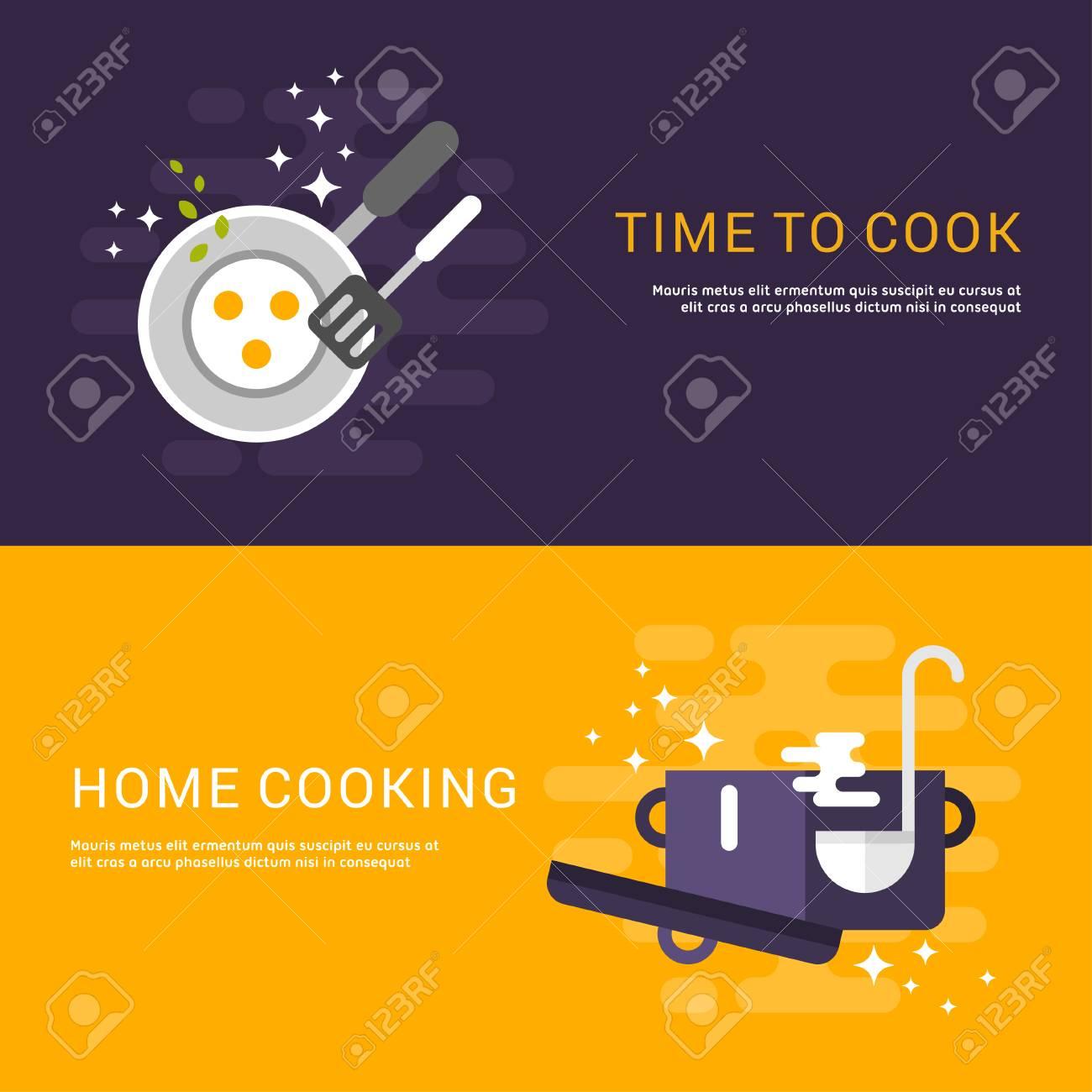 Concepto De Diseño Piso En Web Pancartas. Cocina. Hora De Cocinar ...