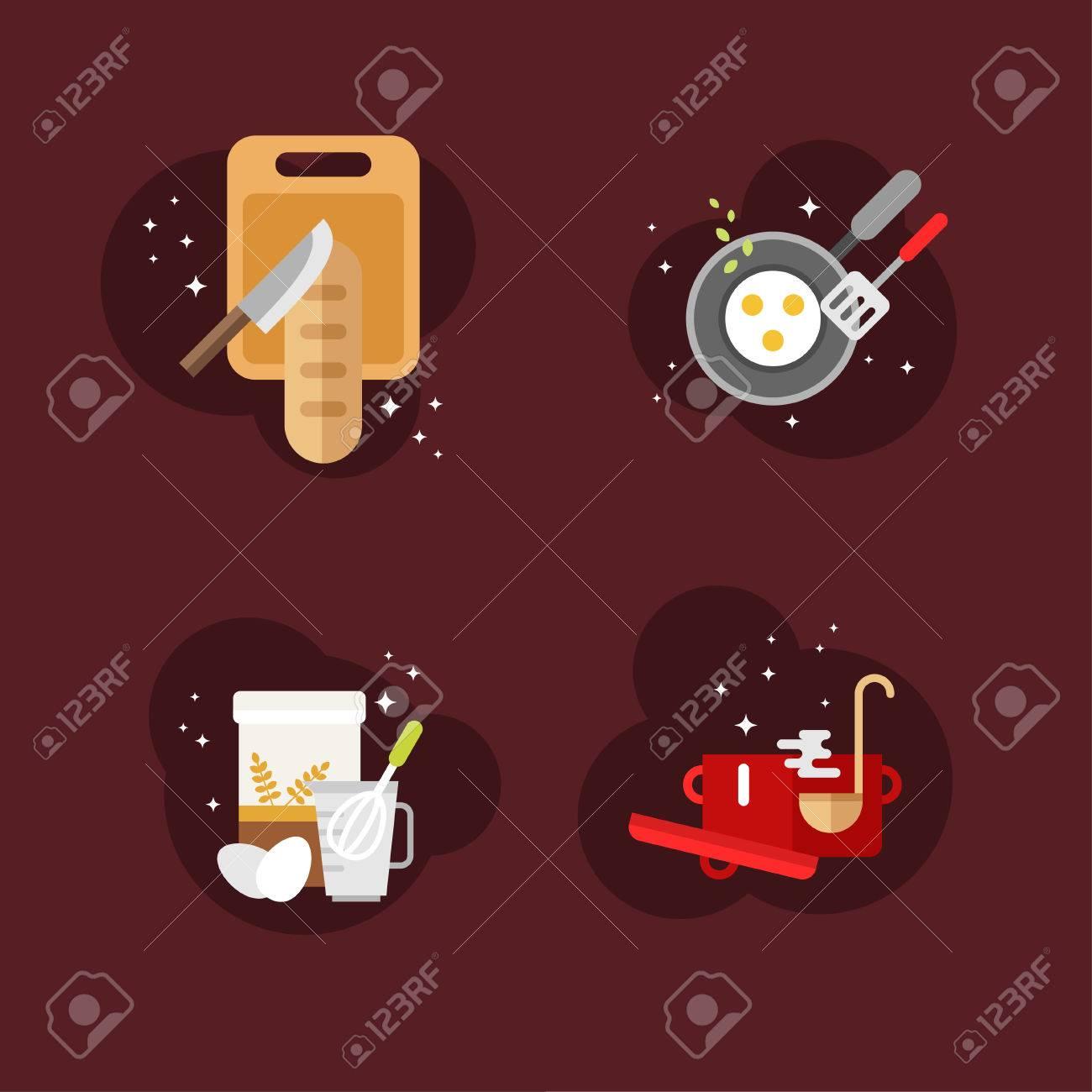Awesome Conjunto De Planos De Diseño Ilustraciones Del Vector Con Las Aplicaciones  De Cocina Y Objetos. Pan De Molde. Ilustración Del Vector En Estilo Del  Diseño ...
