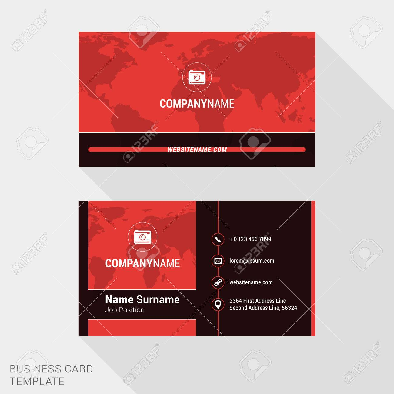 Modern Creative And Clean Business Card Template In Red Color ...