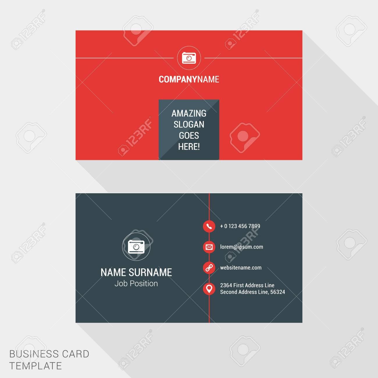 Modern creative and clean business card template in red color modern creative and clean business card template in red color flat style vector illustration stock colourmoves