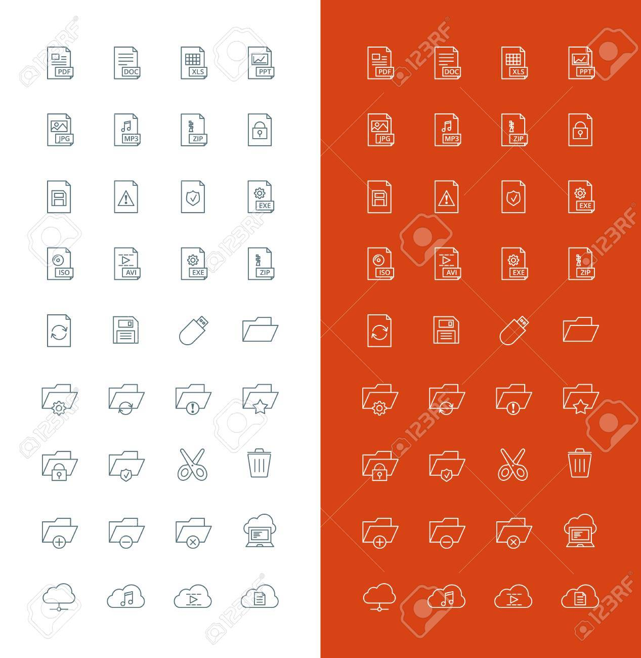 Files and Folders Line Art Design Vector Icon Set  File Types,