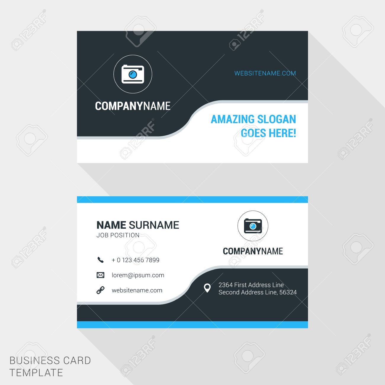 Modern creative and clean business card template in blue and modern creative and clean business card template in blue and black colors with flat style reheart Image collections