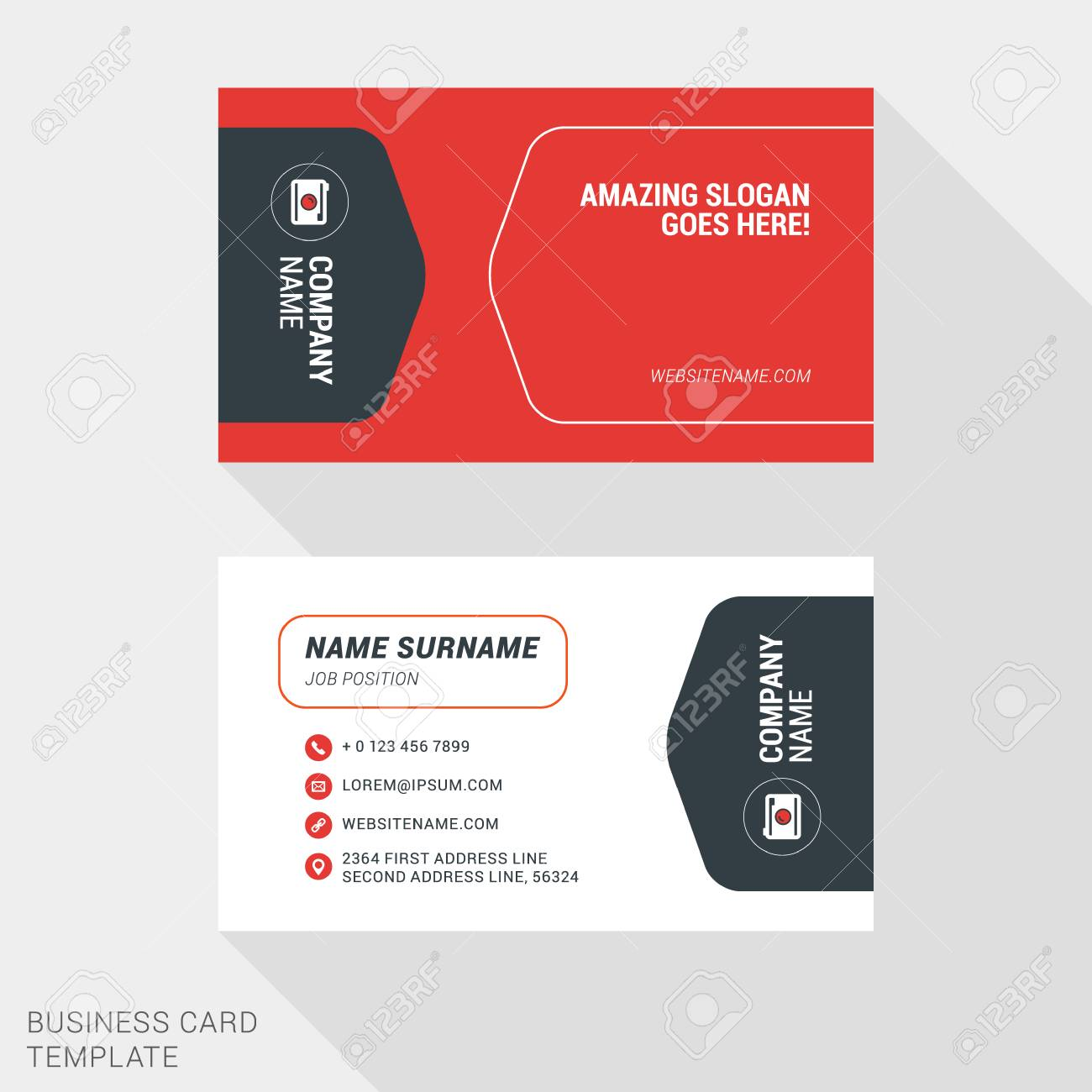 Creative And Clean Business Card Template In Red And Black Colors ...