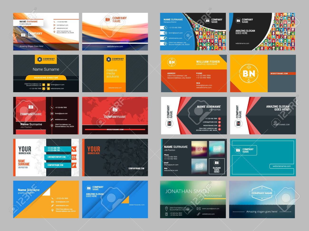 Set Of Modern Creative And Clean Business Card Design Print ...
