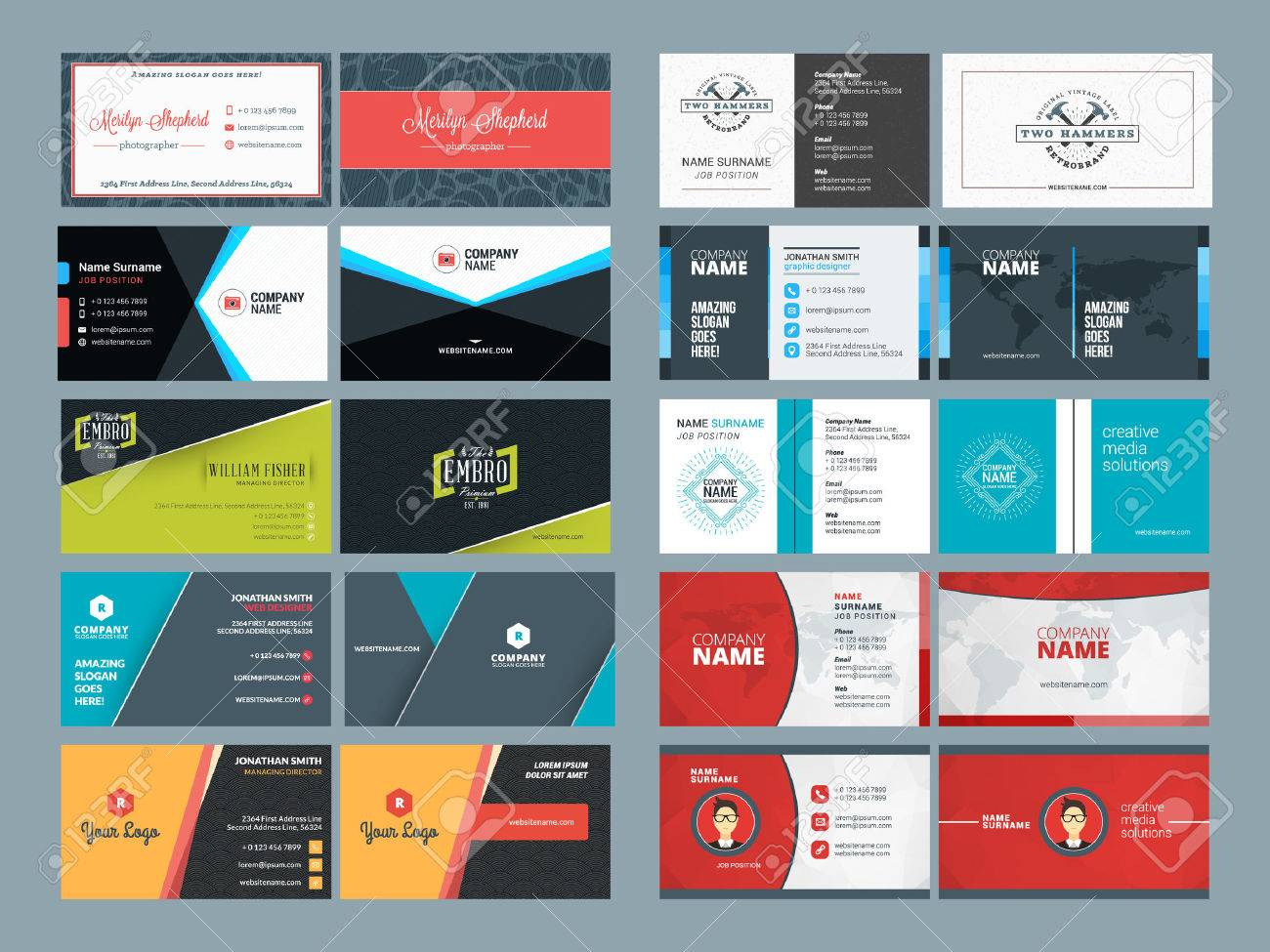 set of modern creative and clean business card design print set of modern creative and clean business card design print templates flat style vector illustration