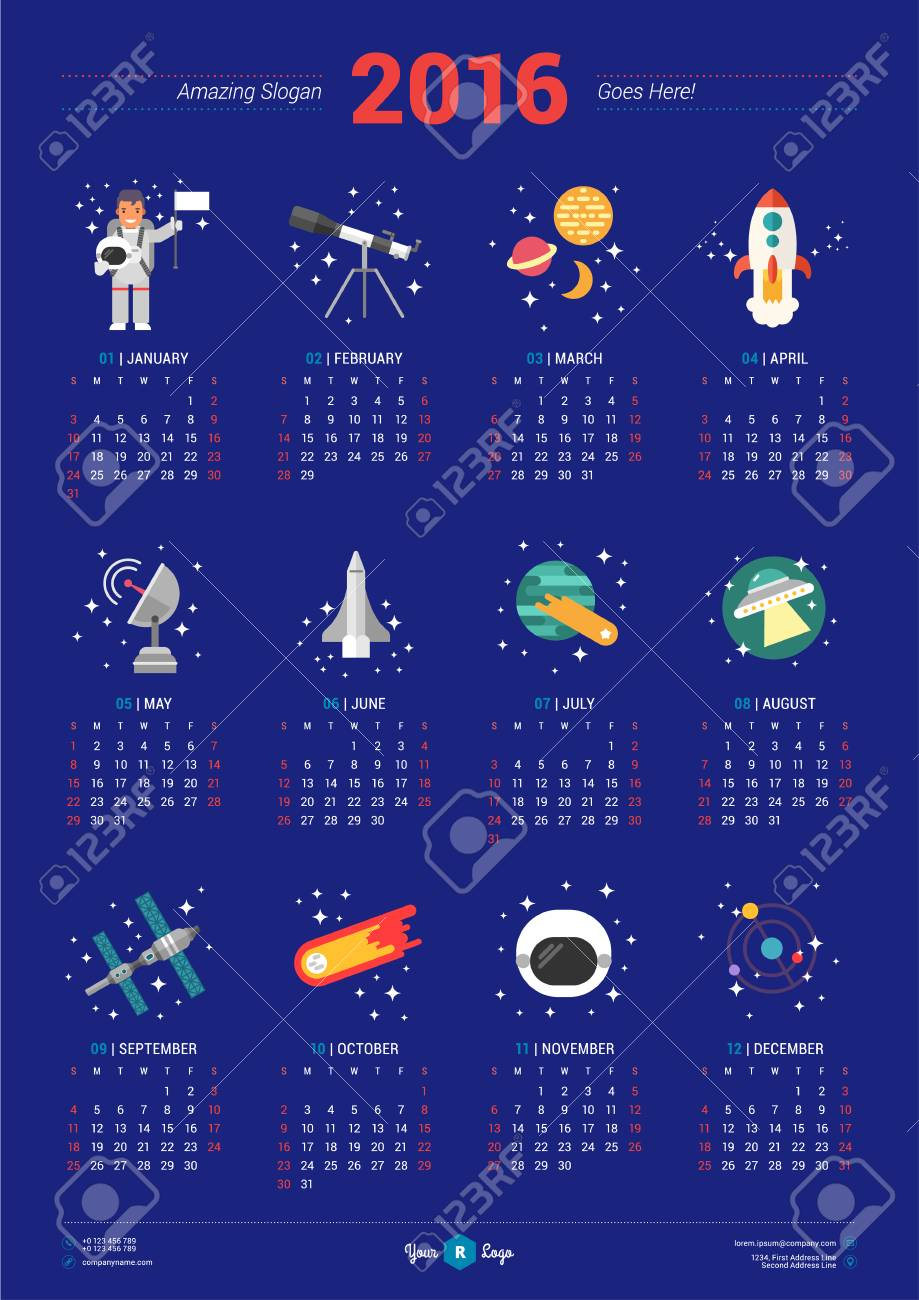 calendar for 2016 year with space icons and illustrations on blue background vector design print