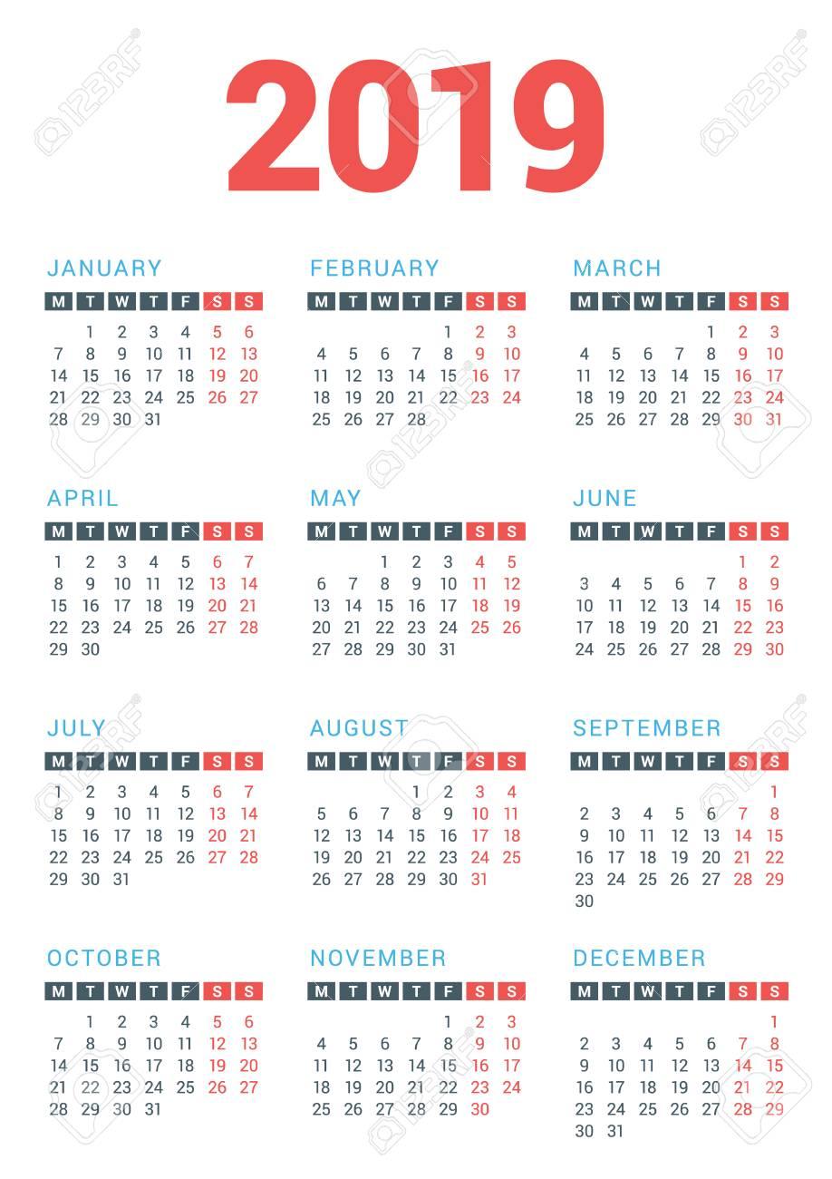白い背景の 2019 年のカレンダーです月曜始まりベクター デザイン印刷テンプレート