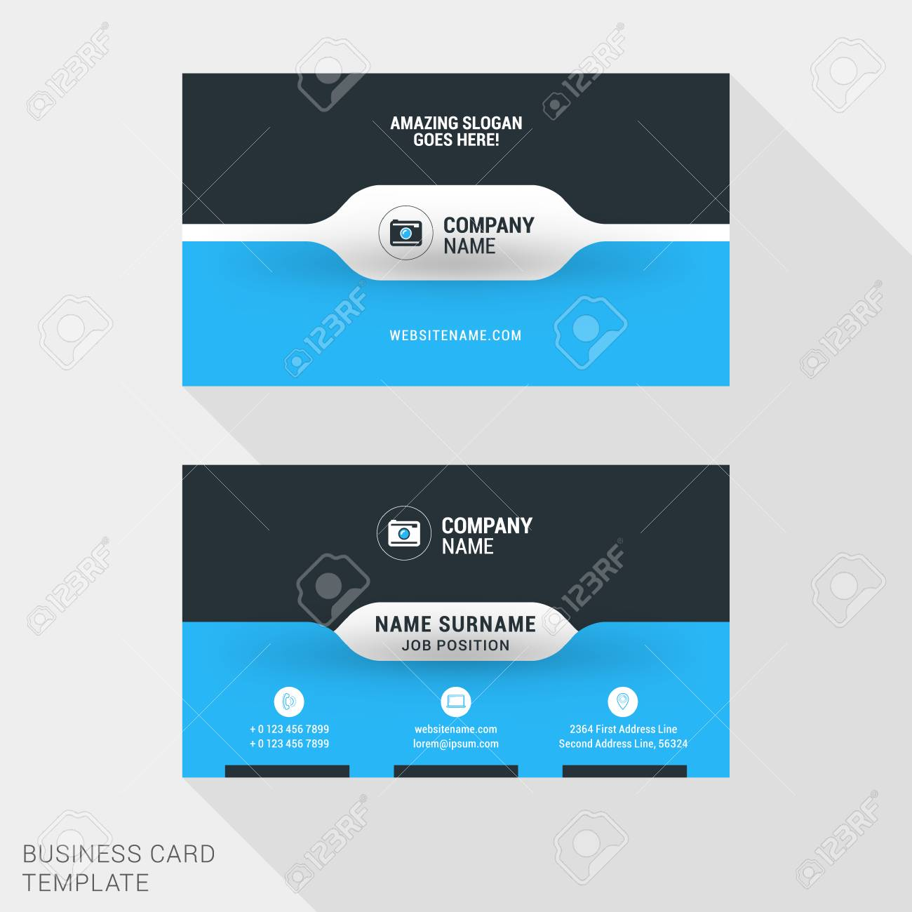 Creative business card print template flat design vector banco de imagens creative business card print template flat design vector illustration stationery design reheart Image collections