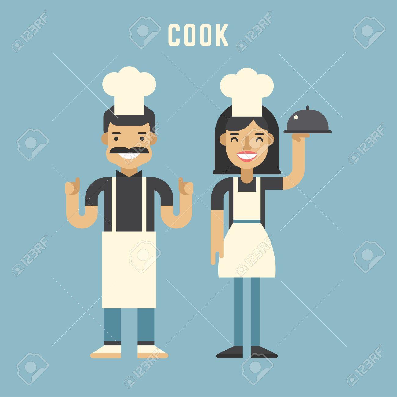 Koch Konzept Koch Männliche Und Weibliche Comic Figuren Flache
