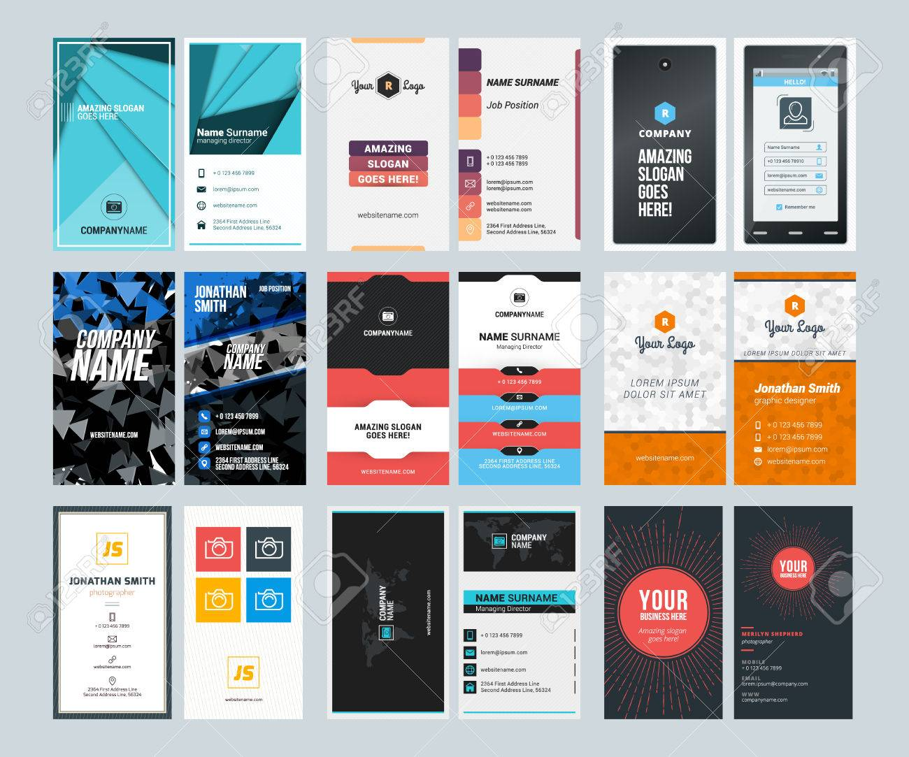Set Of Creative Vertical Business Card Print Templates. Flat ...