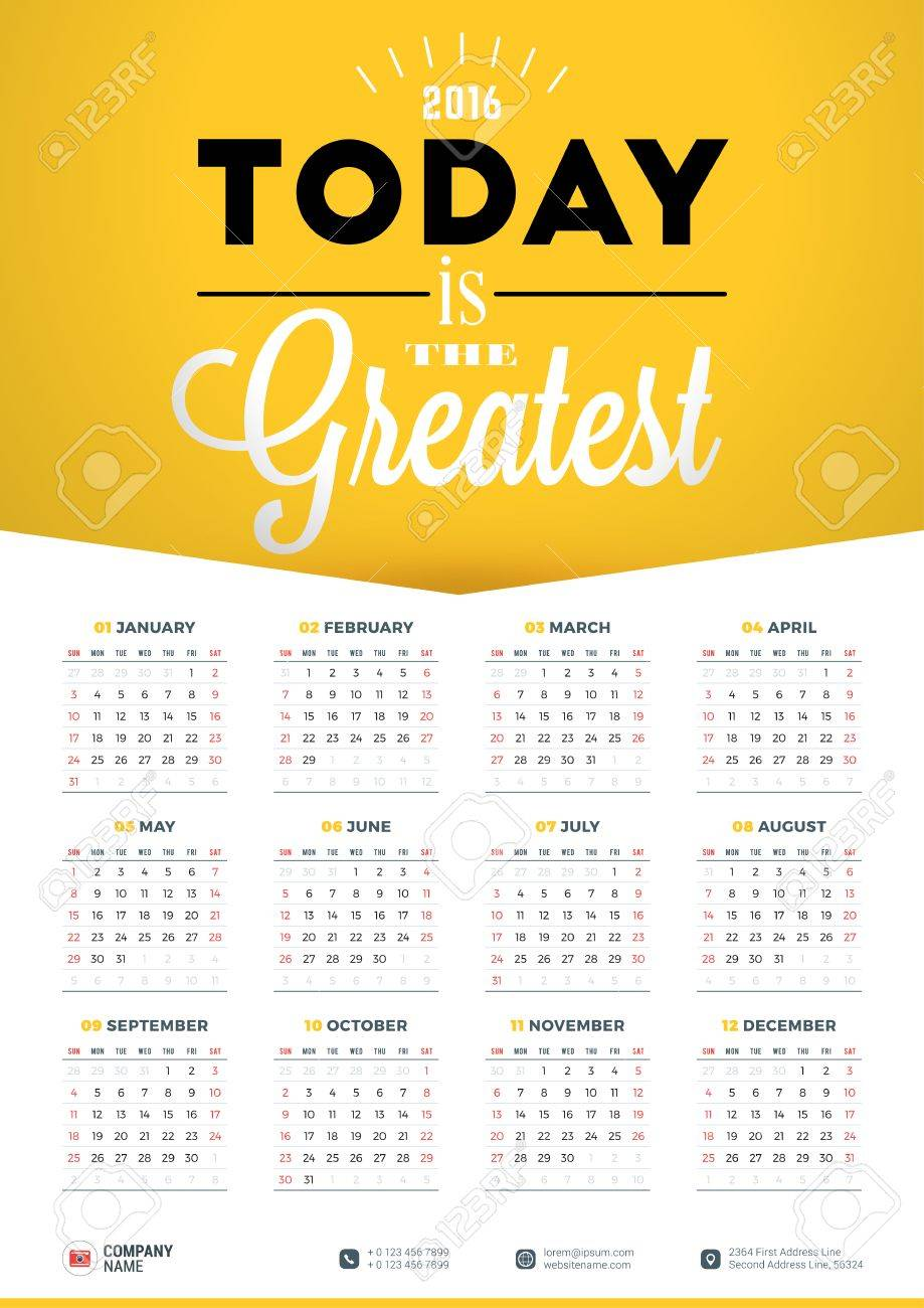 Poster design grid - Vector Wall Calendar Poster For 2016 Year Vector Design Print Template With Typographic Motivational Quote On Yellow Background Calendar Grid