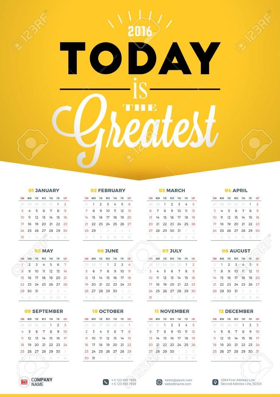 Calendar Design Quote : Wall calendar poster for year vector design print template