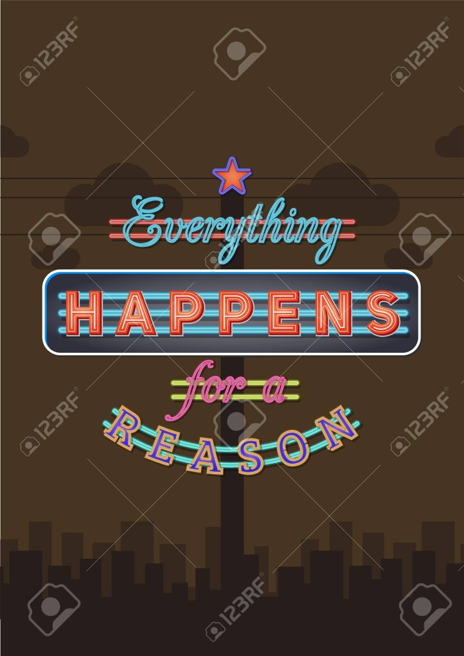 Retro Neon Sign Vintage Signboard With Motivational Quote Everything