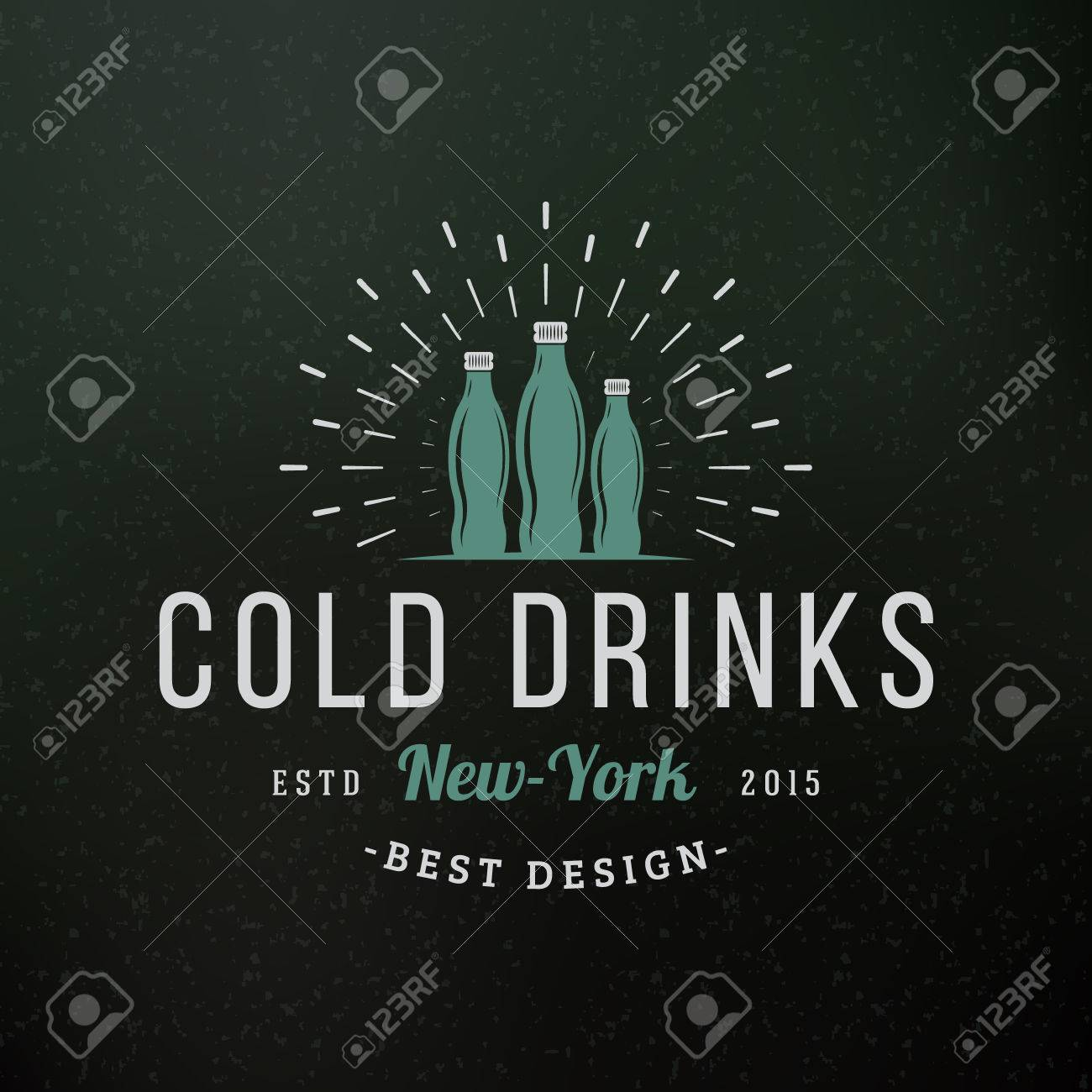 Cold drinks vintage retro design elements for logotype insignia vector cold drinks vintage retro design elements for logotype insignia badge label business sign template textured background friedricerecipe Images