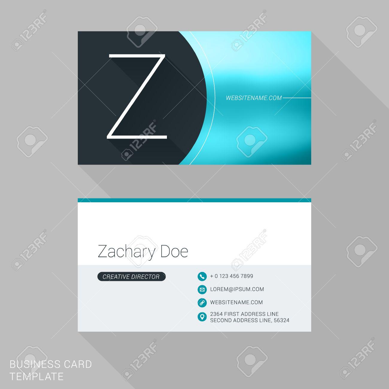 Creative Business Card Template. Letter Z. Flat Design Vector ...