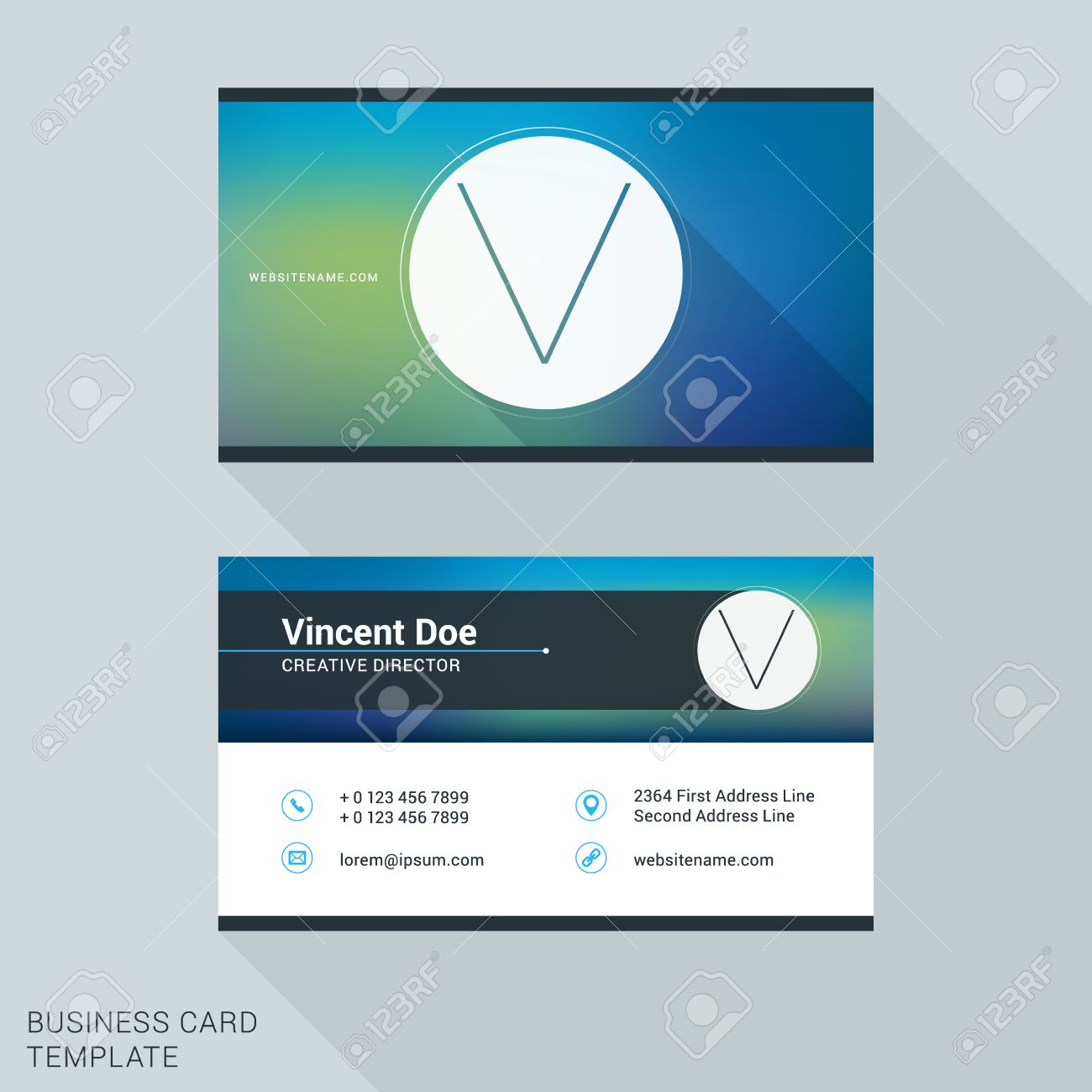 Creative and clean business card or name badge template logotype creative and clean business card or name badge template logotype letter v flat design wajeb Choice Image