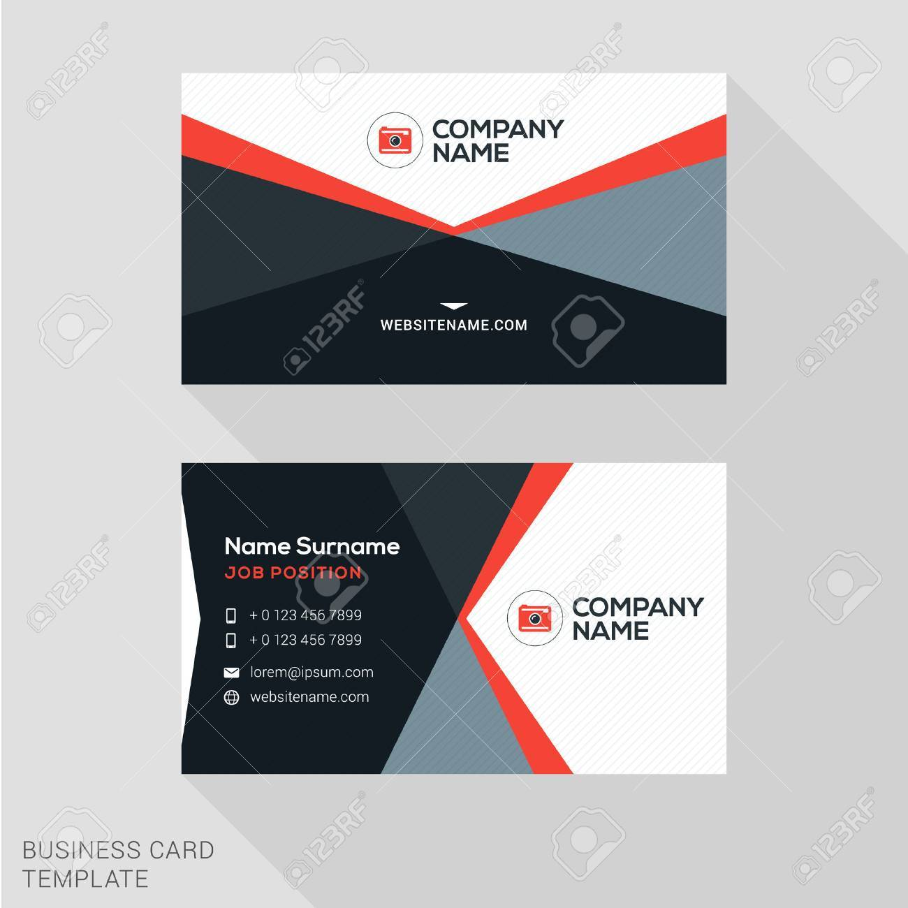 Creative Business Card Vector Template. Flat Design Vector ...
