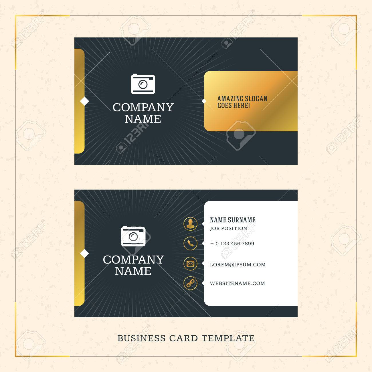 Modern creative golden business card vector template vector modern creative golden business card vector template vector illustration stationery design gold and reheart Image collections