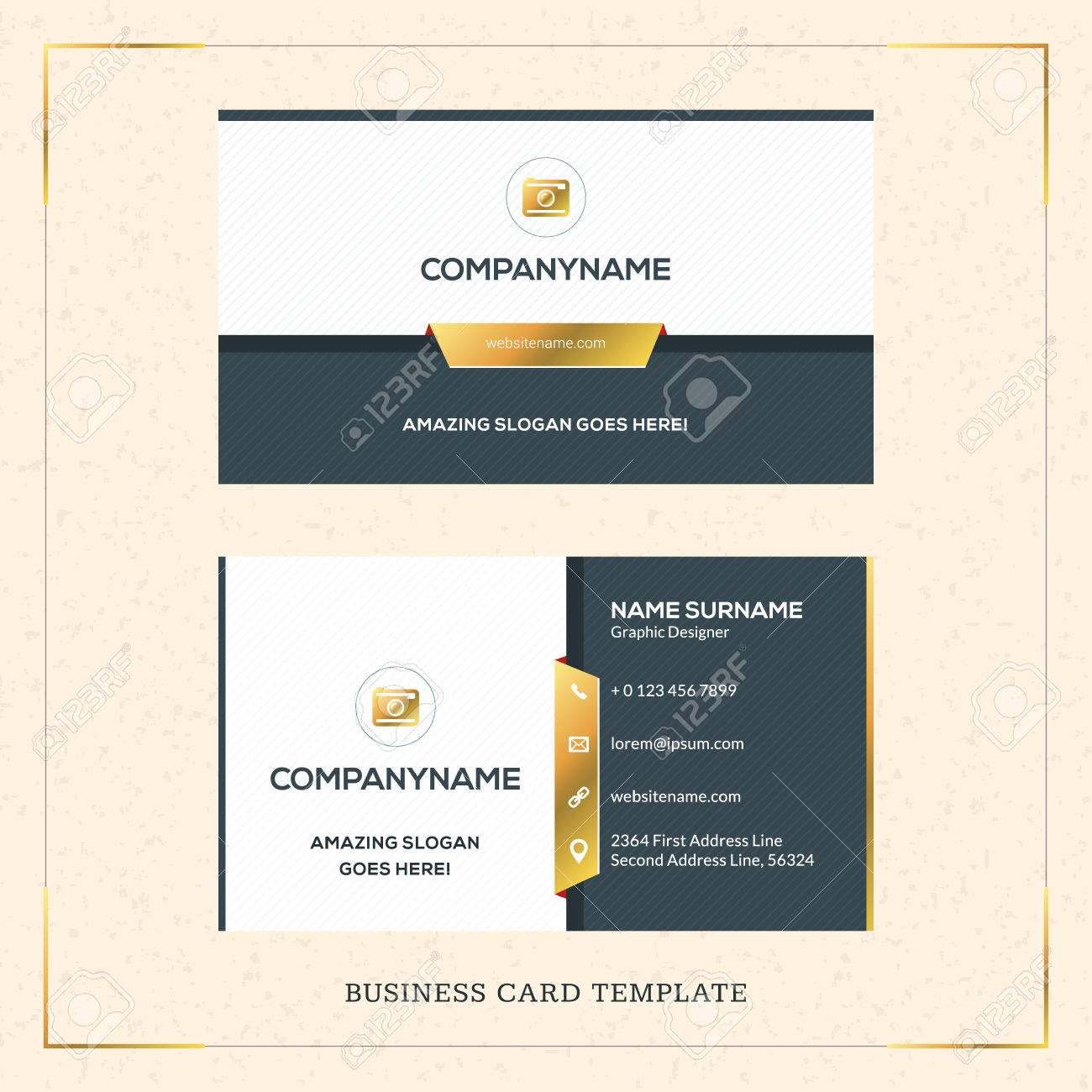 Modern creative golden business card vector template vector modern creative golden business card vector template vector illustration stationery design gold and reheart Choice Image