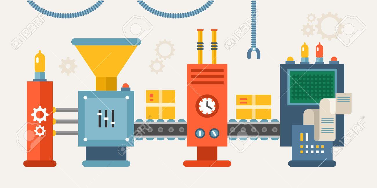 Conveyor System with Manipulators. Flat Style Vector illustration - 52213670
