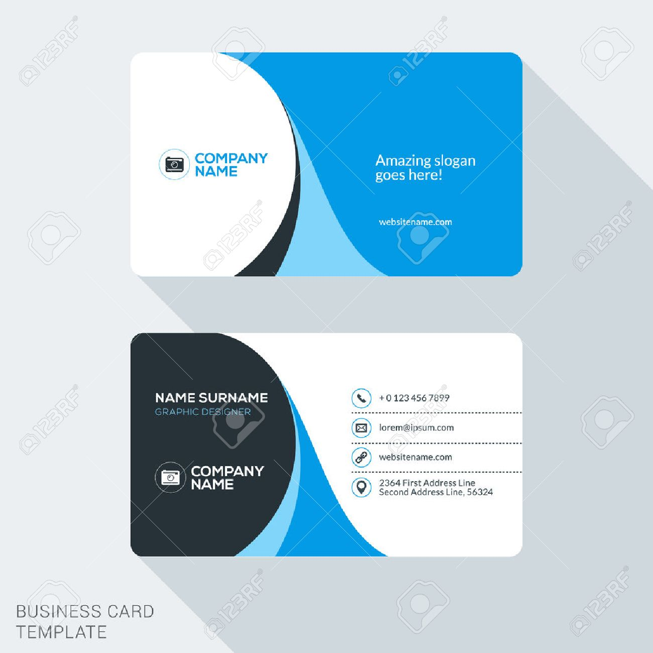 Creative and Clean Corporate Business Card Template. Flat Design Vector Illustration. Stationery Design - 52213772