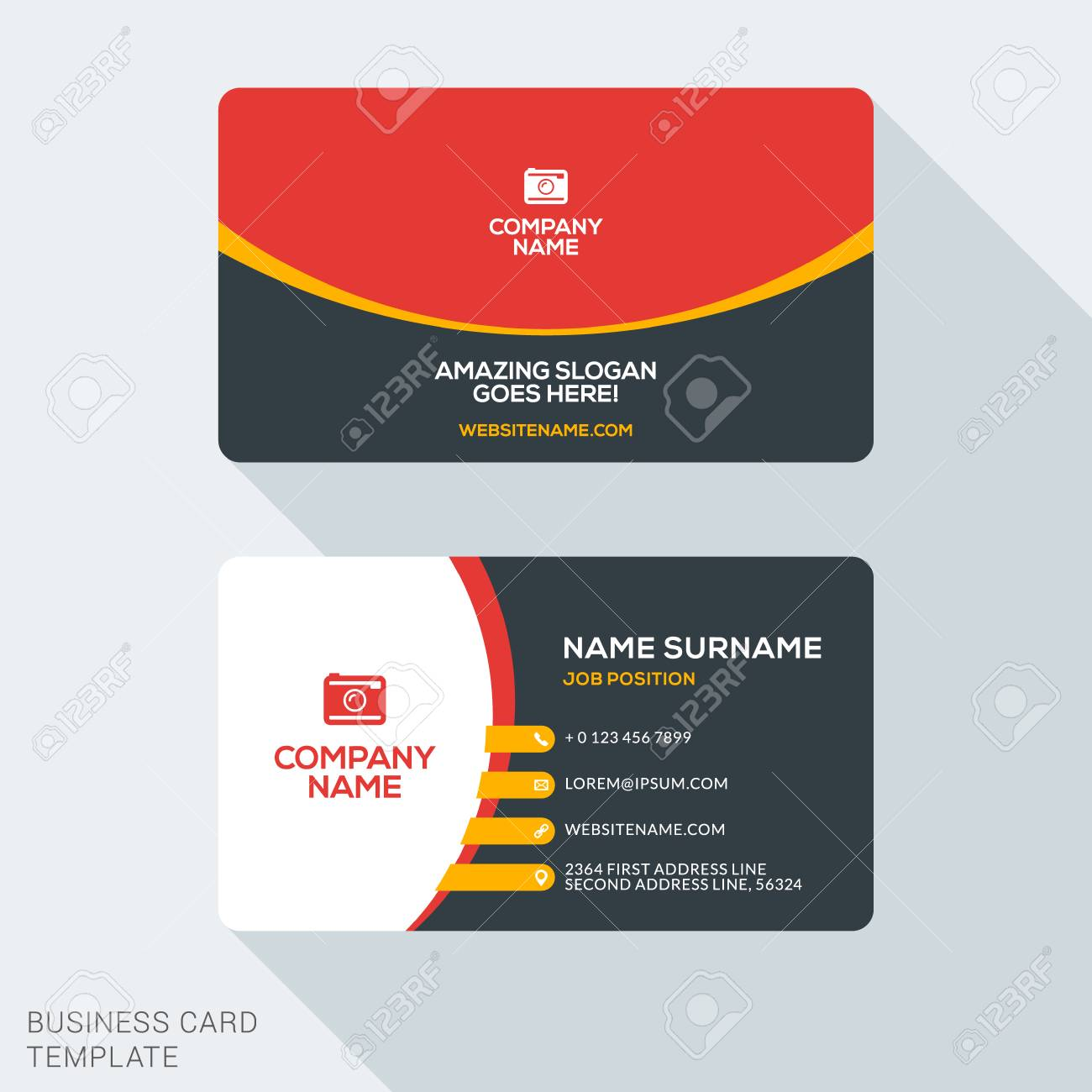 Creative and clean corporate business card template flat design creative and clean corporate business card template flat design vector illustration stationery design stock reheart Gallery