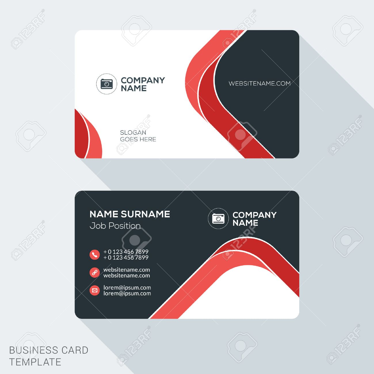 Creative and Clean Business Card Template. Flat Design Vector Illustration. Stationery Design - 52453922