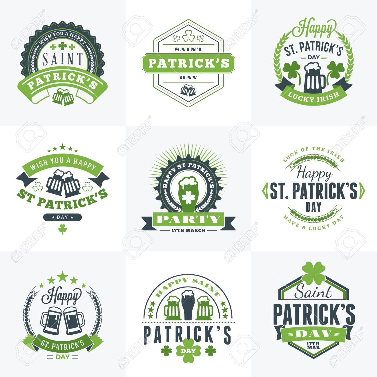 Set of st patricks day retro holiday badges vector greetings set of st patricks day retro holiday badges vector greetings card design saint m4hsunfo