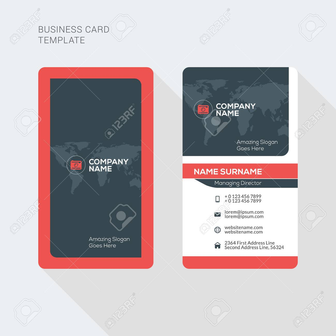 Creative and clean business card vector print template vertical creative and clean business card vector print template vertical business card template flat style reheart Choice Image