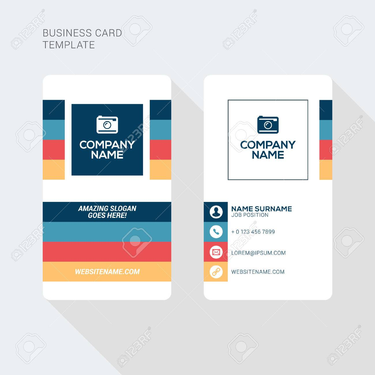 Creative and clean business card vector print template vertical creative and clean business card vector print template vertical business card template flat style reheart Gallery