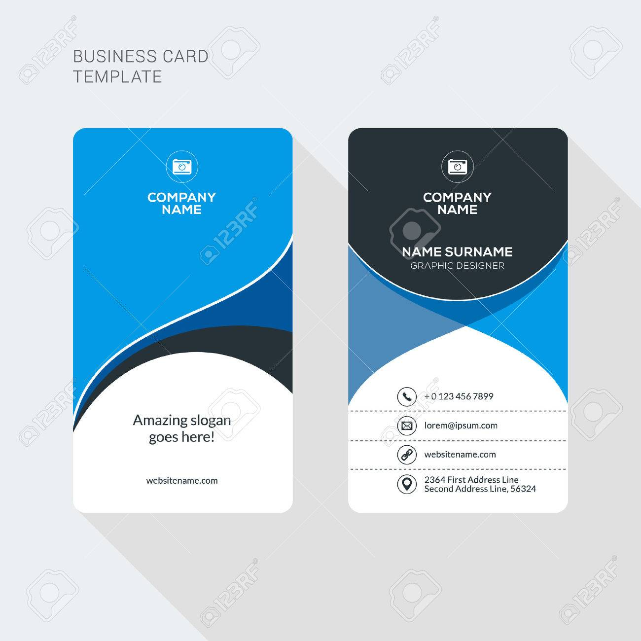 Modern Creative And Clean Two Sided Business Card Template. Flat Style  Vector Illustration. Vertical  Membership Id Card Template