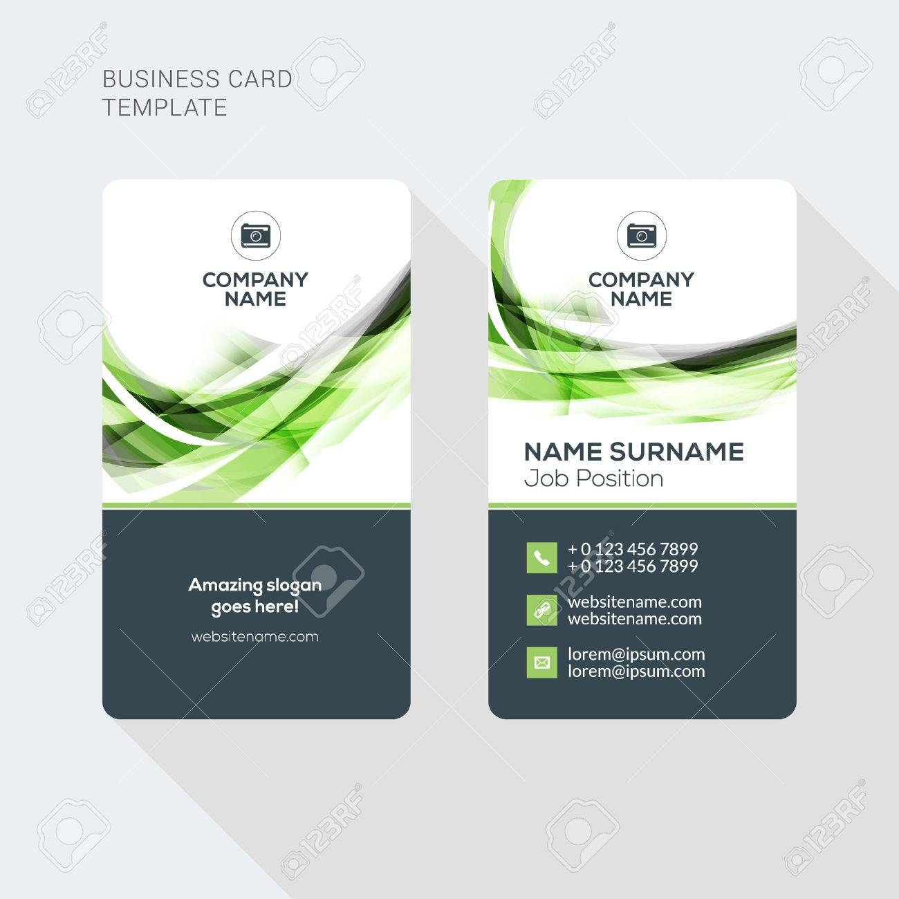 Modern Creative and Clean Two Sided Business Card Template. Flat Style Vector Illustration. Vertical Visiting or Business Card Template. Stationery Design - 52841528