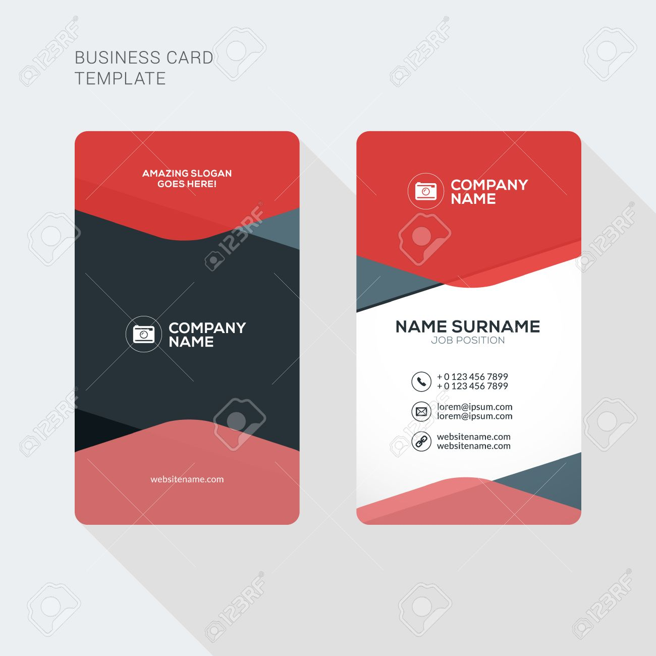 Modern Creative and Clean Two Sided Business Card Template. Flat Style Vector Illustration. Vertical Visiting or Business Card Template. Stationery Design - 52841529