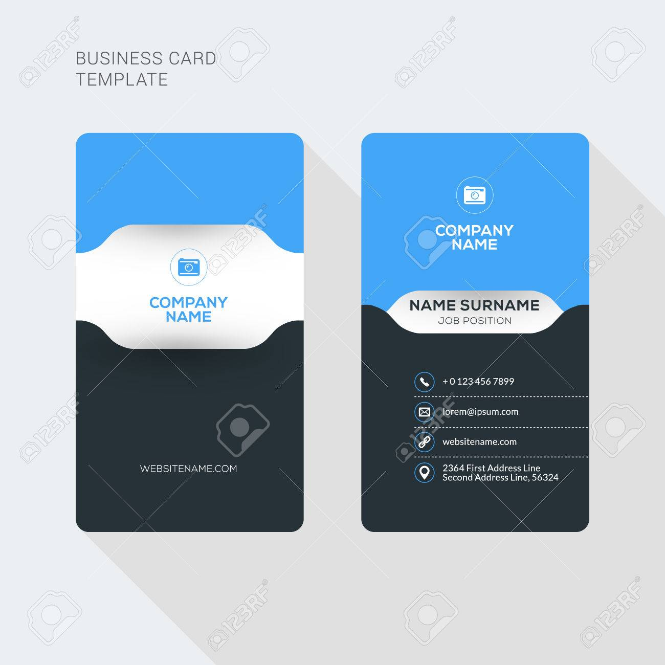 Creative and Clean Business Card Vector Print Template. Vertical Business Card Template. Flat Style Vector Illustration. Stationery Design - 52841531