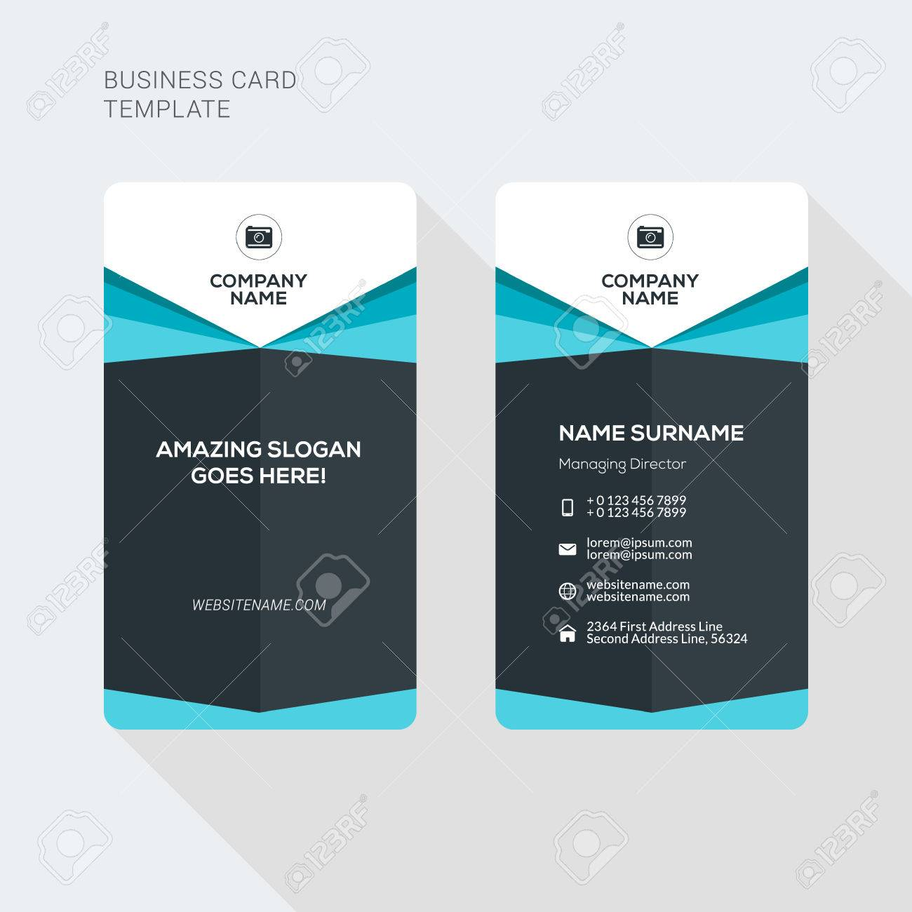 Modern Creative And Clean Two Sided Business Card Template Flat - Double sided business card template