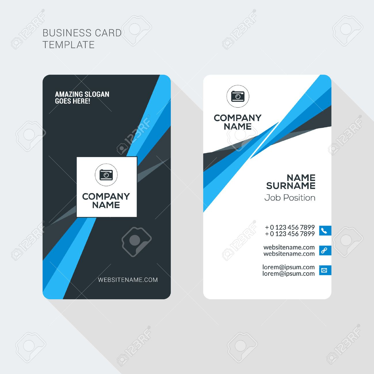 Modern creative and clean two sided business card template flat modern creative and clean two sided business card template flat style vector illustration vertical wajeb Images