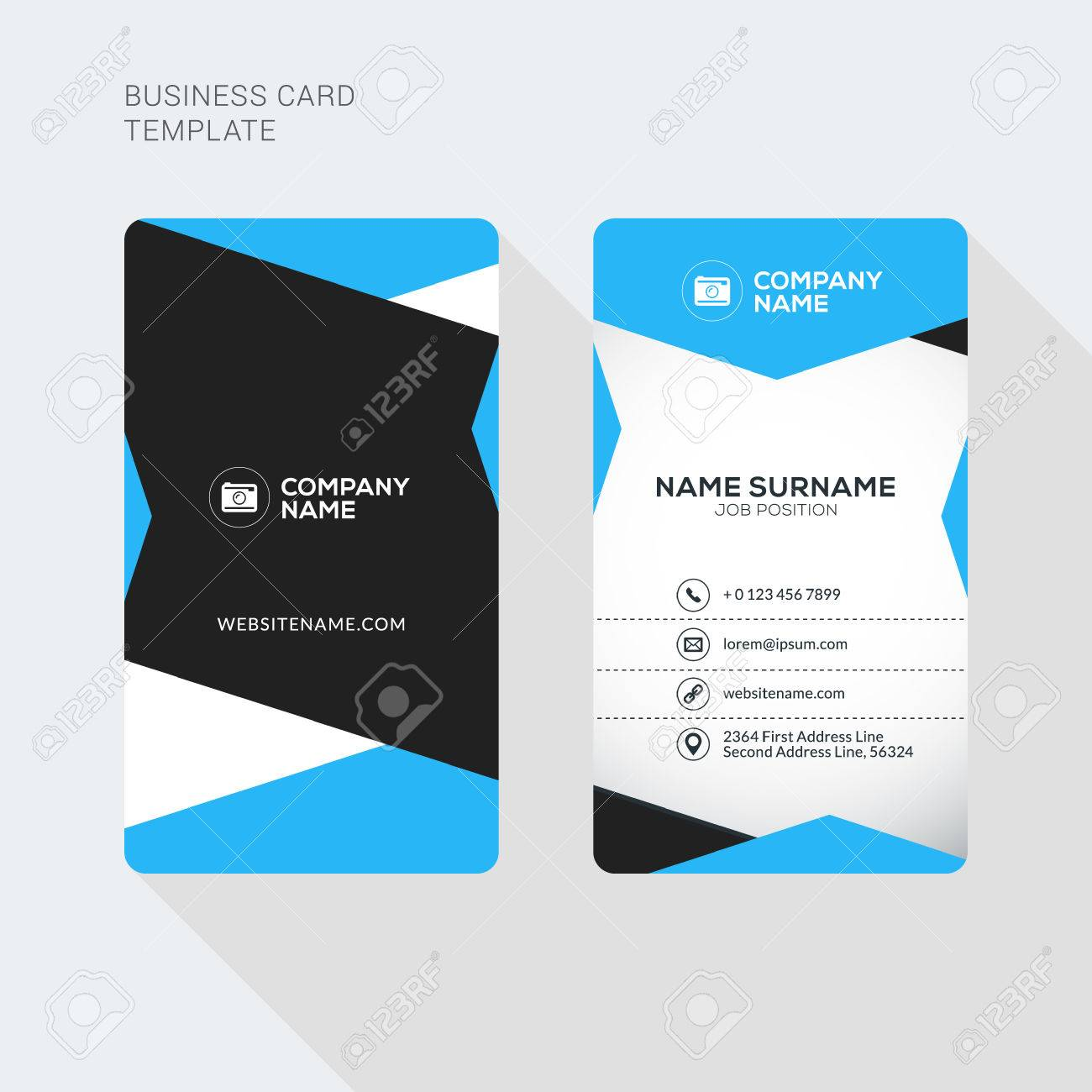 Modern creative and clean two sided business card template flat modern creative and clean two sided business card template flat style vector illustration vertical accmission Choice Image