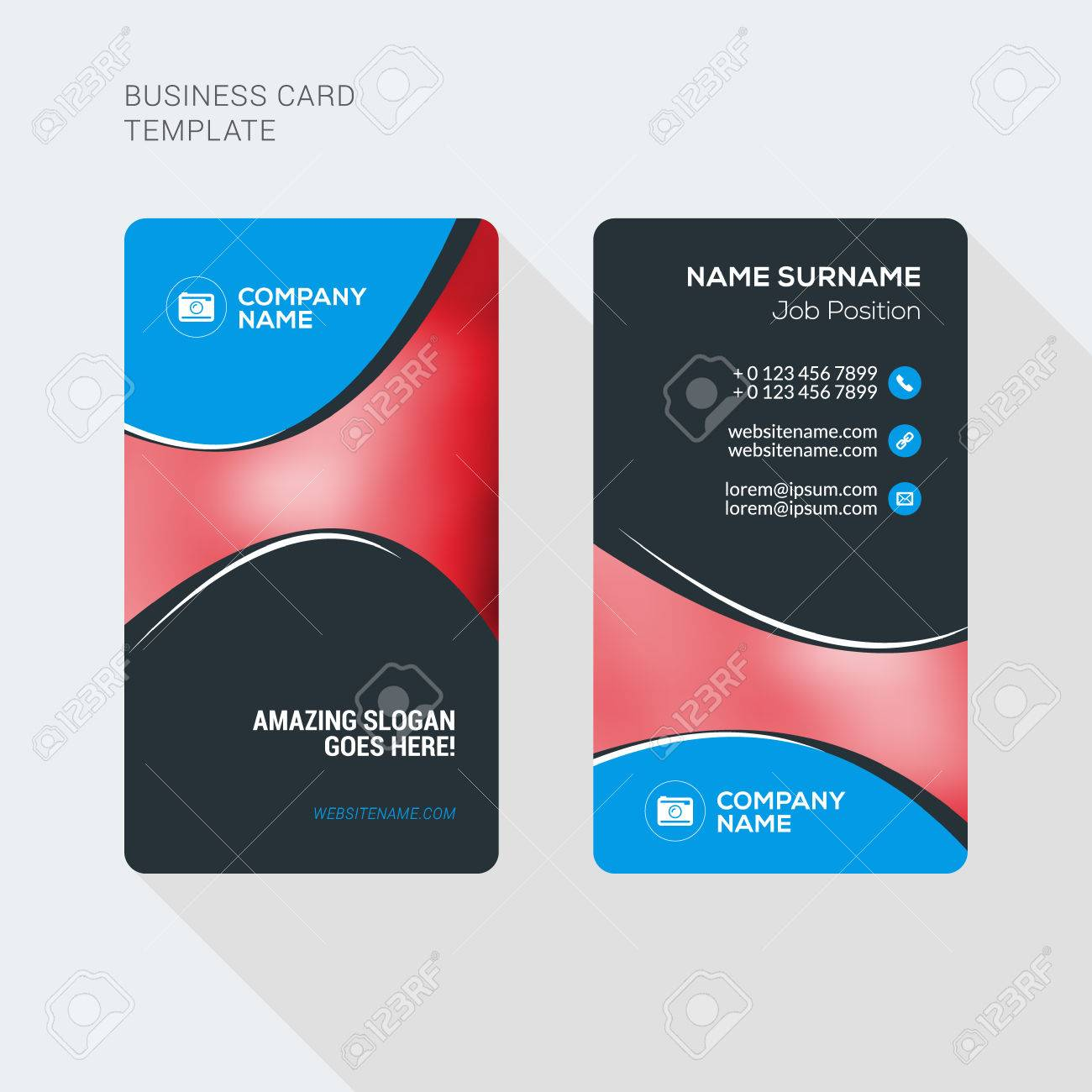 Modern creative and clean two sided business card template flat modern creative and clean two sided business card template flat style vector illustration vertical flashek Gallery