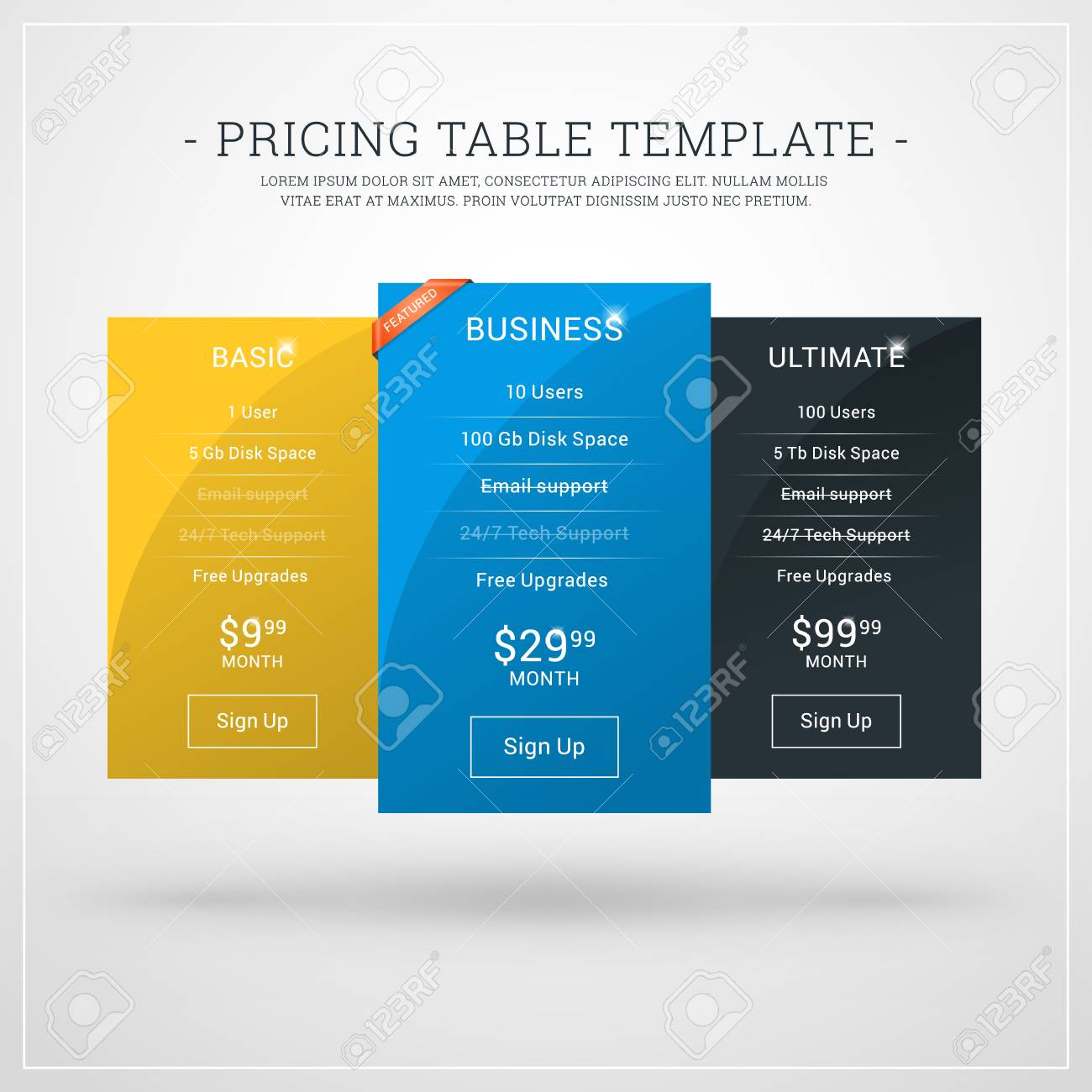 Design Template For Pricing Table For Websites And Applications