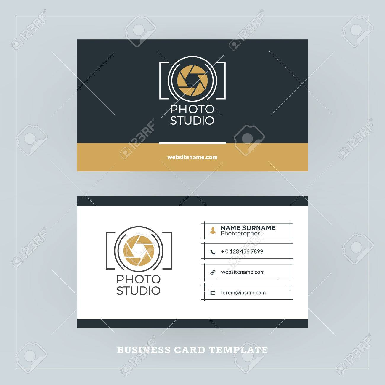 Golden and black business card design template business card golden and black business card design template business card for photographer or graphic designer flashek Images
