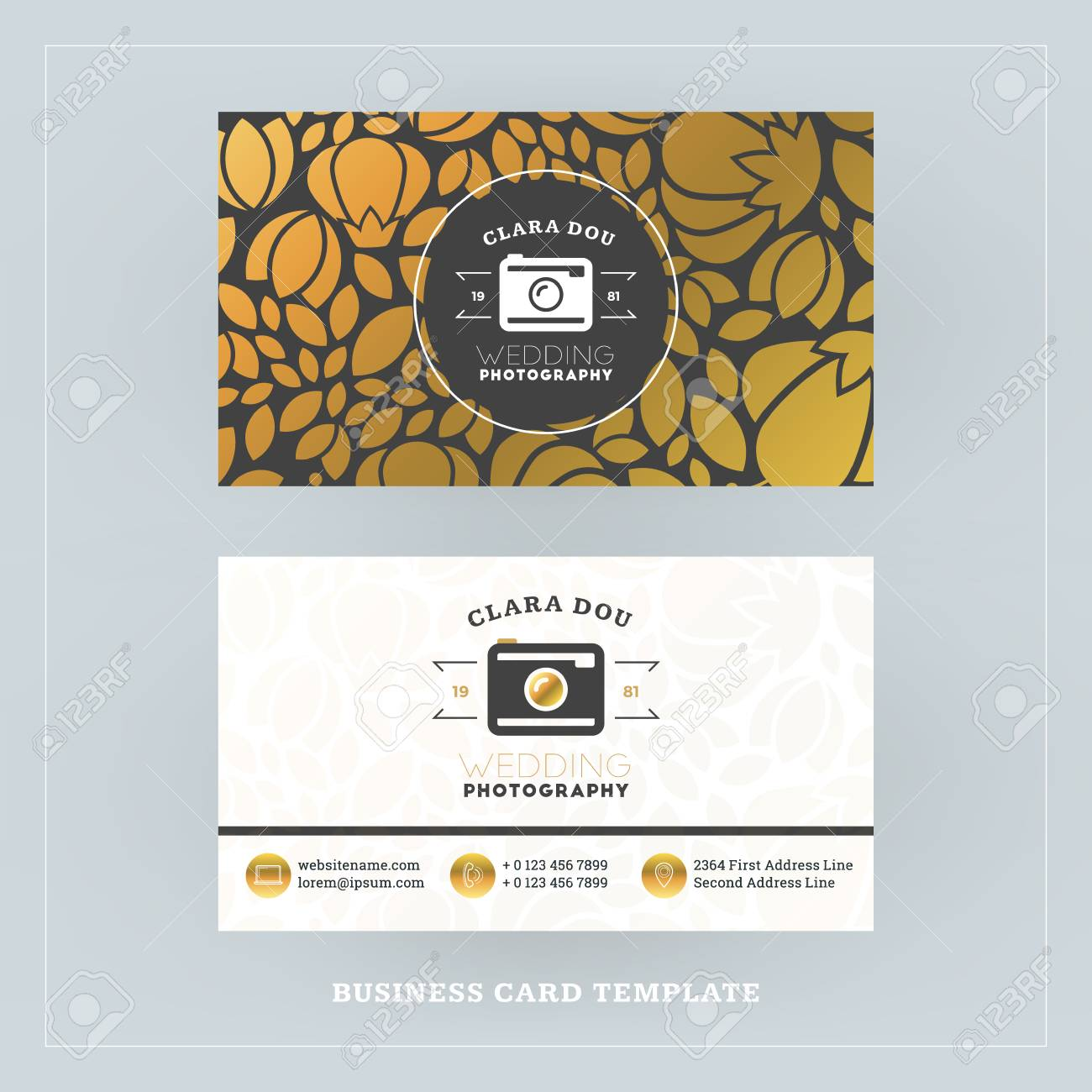 Golden And Black Business Card Design Template. Business Card ...