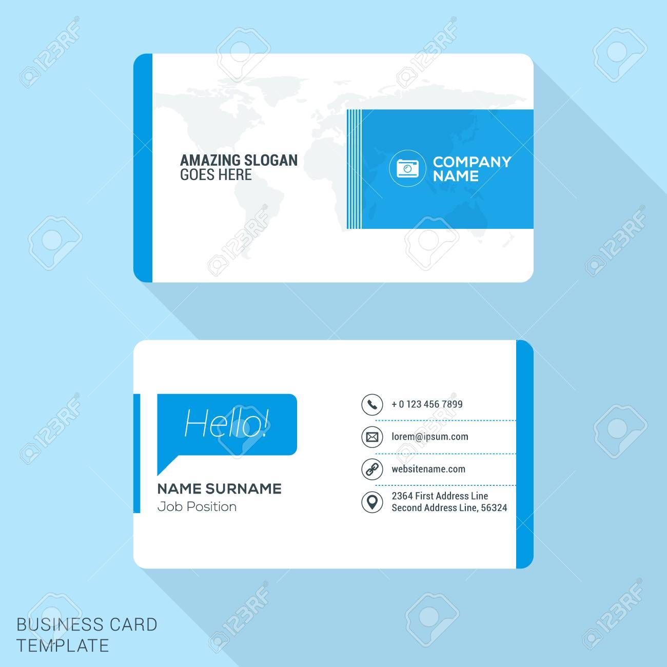 Modern Creative Business Card Template. Flat Design Vector ...