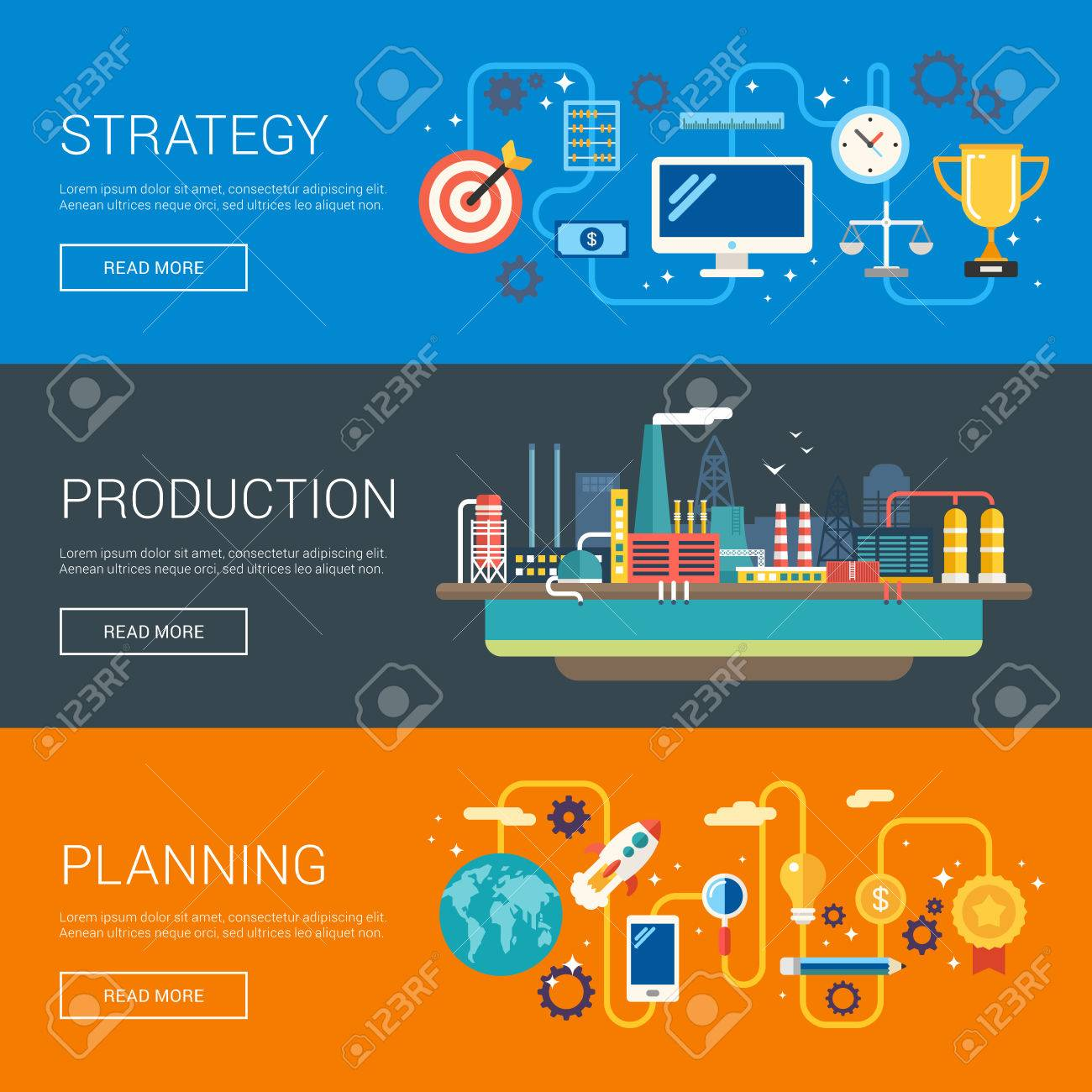 Strategy. Production. Planning. Flat Design Vector Illustration ...