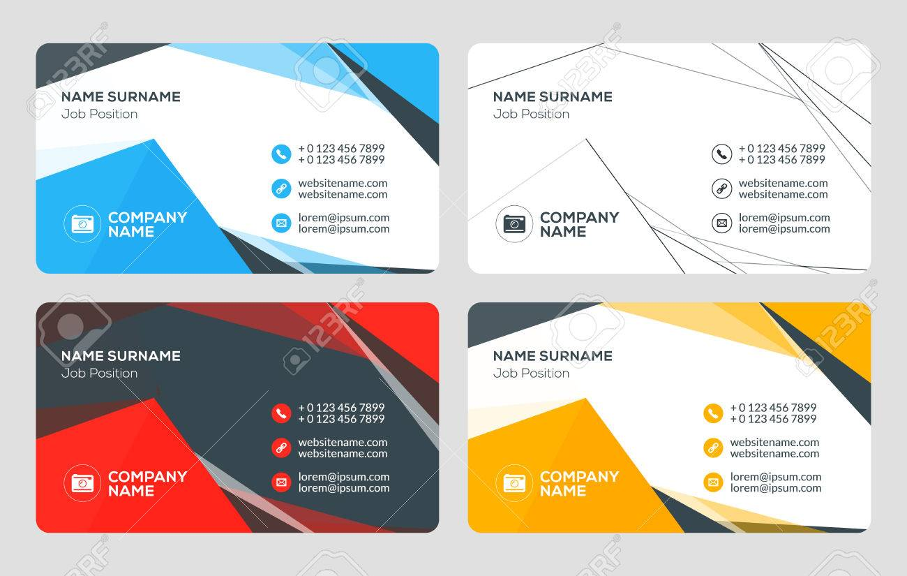 Creative business card template flat design vector illustration creative business card template flat design vector illustration stationery design 4 color combinations reheart Gallery