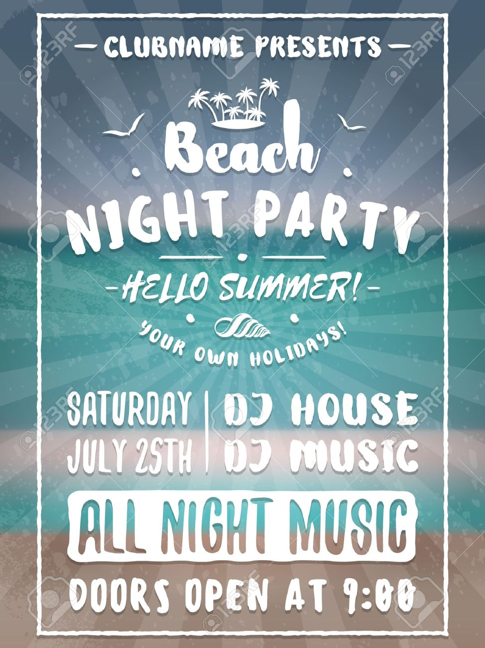 Beach Party Flyer Or Poster. Night Club Event. Summer Night Party ...