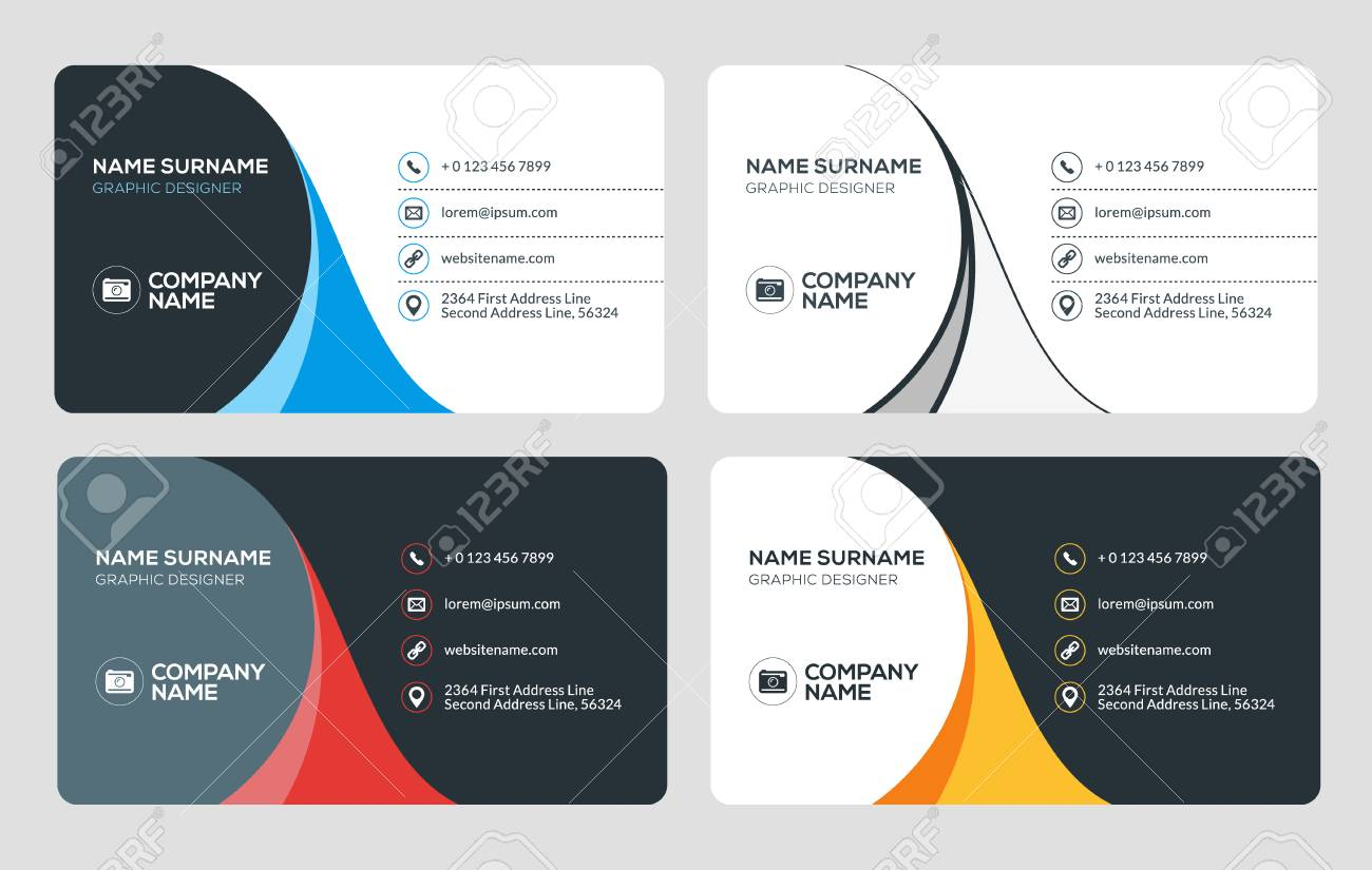 Business card vector template flat style vector illustration business card vector template flat style vector illustration stationery design 4 color combinations reheart Gallery