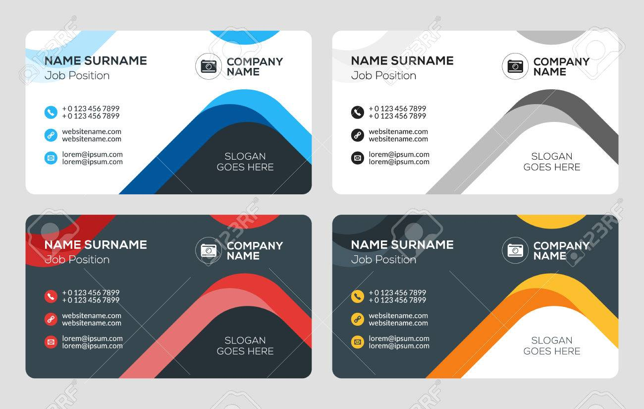 4 Color Combinations business card vector template. flat style vector illustration
