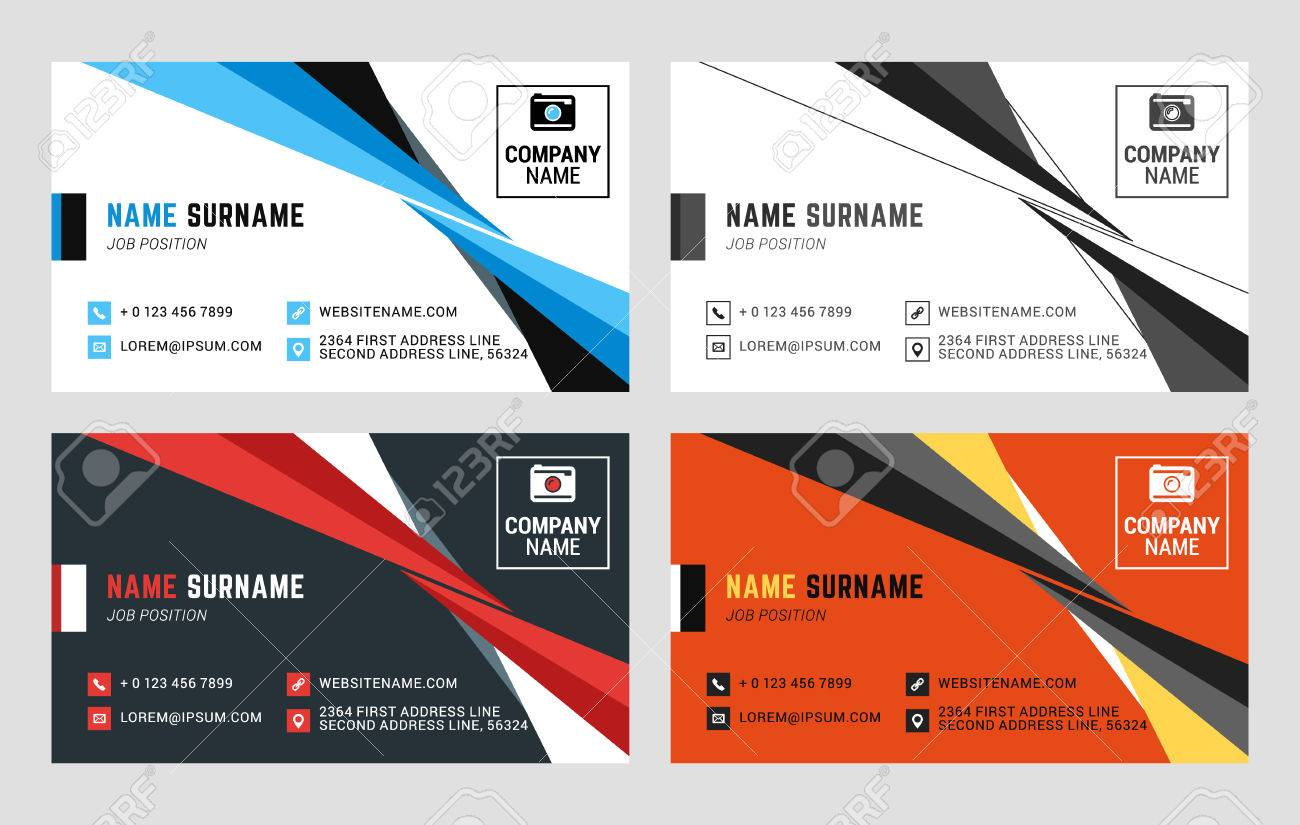 Business card vector template flat style vector illustration business card vector template flat style vector illustration stationery design 4 color combinations colourmoves