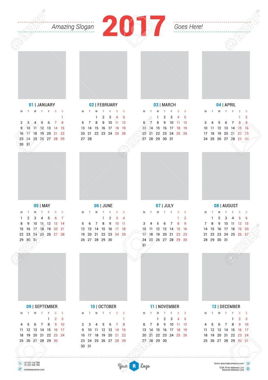 Calendario Anno 2017.Modello Di Progettazione Del Calendario Per L Anno 2017 La Settimana Inizia Lunedi Design Di Cancelleria Vector Calendar Poster Con Posto Per Foto