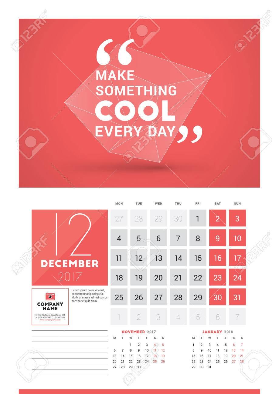 wall calendar planner print template for 2017 year december